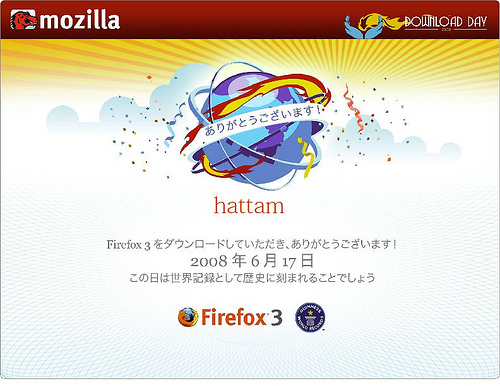 Firefox3 Download Day Certificate